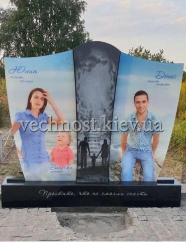 Современный семейный памятник с фотографиями в стекле