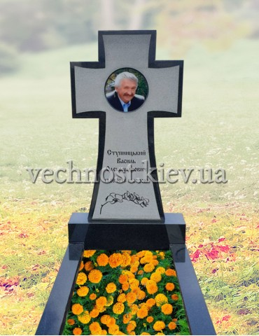 Памятник Казацкий крест с фотостеклом